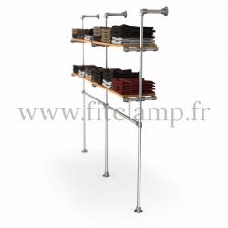 Double-width shelving with hanging wardrobe. Tubular structure. Wooden shelves not included.