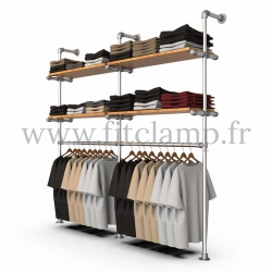 Double-width shelving with hanging wardrobe. Tubular structure. Wooden shelves not included. FitClamp