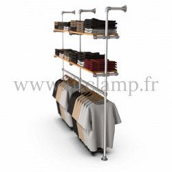 Double-width shelving with hanging wardrobe. Tubular structure. Easy to install