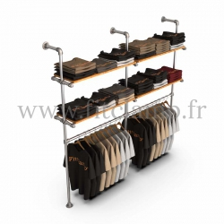 Double-width shelving with hanging wardrobe. Tubular structure. Easy to install. FitClamp