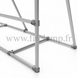 Cadre d'affichage mobile pour bâche tendue en structure tubulaire. Assemblage tubulaire facile à monter