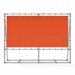 Cadre d'affichage mobile avec renfort et bâche tendue - FitClamp