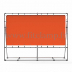 Mobile display frame with tension banner on aluminium tubular structure. With reinforcements.