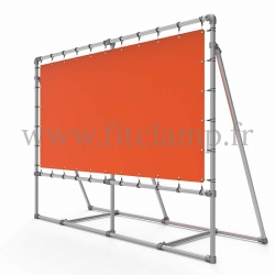 Mobile display frame with tension banner on aluminium tubular structure. Easy to install. FitClamp.