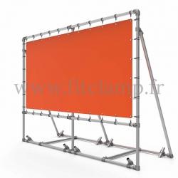 Cadre d'affichage mobile avec renfort, piquets et bâche tendue - FitClamp