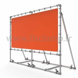 Mobile display frame with tension banner on aluminium tubular structure. With ground peg.