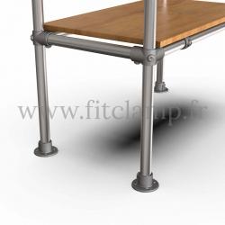 Etagère droite simple en structure tubulaire C42 en acier galvanisé. Piètement raccord tubulaire platine. FitClamp