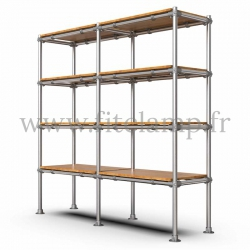 C42 Tubular double upright shelving unit: Furniture in tubular structure. Ideal solution for your interior layout. FitClamp