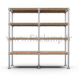 C42 Tubular double upright shelving unit: Furniture in tubular structure. Easy to install. Fitclamp