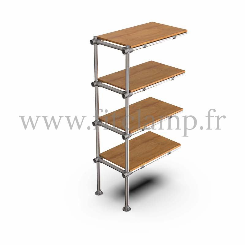 Tubular upright shelving extension: Furniture in C42 tubular structure. FitClamp