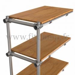 Tubular upright shelving extension: Furniture in C42 tubular structure. Detail