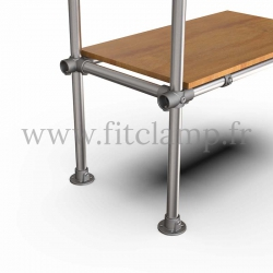 Tubular upright shelving extension: Furniture in C42 tubular structure. Option foot : Plate 131