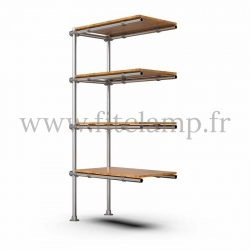 Tubular upright shelving extension: Furniture in C42 tubular structure. Easy to install.
