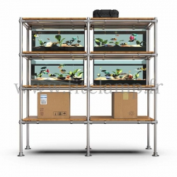 C42 Tubular double upright shelving unit: Furniture in tubular structure. Strong. Fitclamp