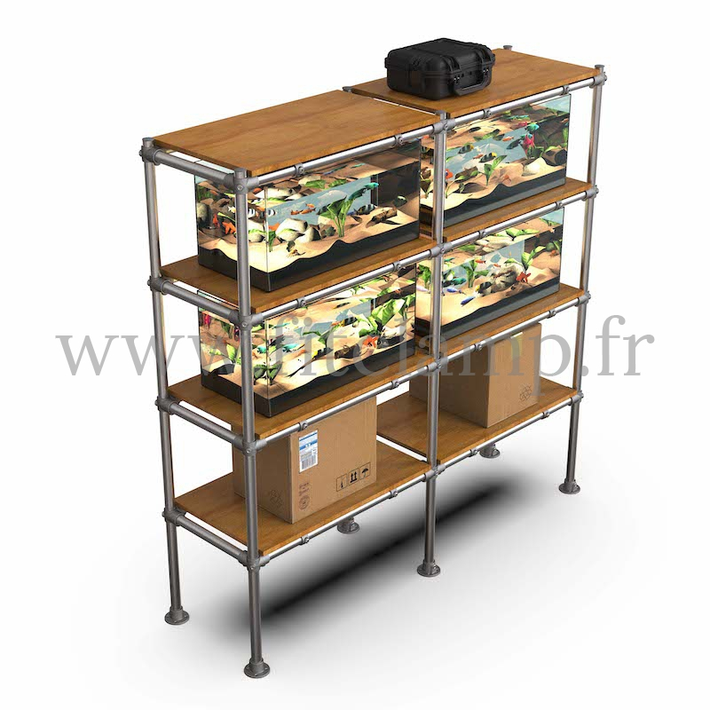 C42 Tubular double upright shelving unit: Furniture in tubular structure. FitClamp