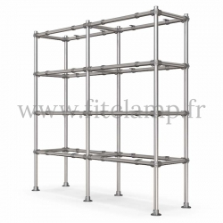 C42 Tubular double upright shelving unit: Furniture in tubular structure. Easy to install