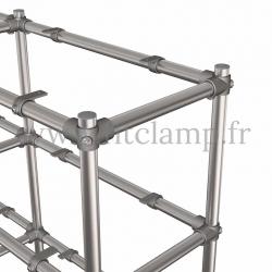 C42 Tubular double upright shelving unit: Furniture in tubular structure. Detail