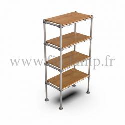 Etagère droite Simple en structure tubulaire en acier galvanisé. En situation avec table bois. FitClamp