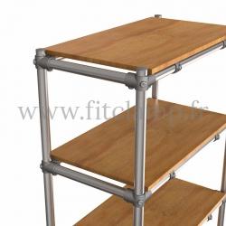 Etagère droite Simple en structure tubulaire en acier galvanisé. Détaille raccord tubulaire angle avec tablette bois. FitClamp