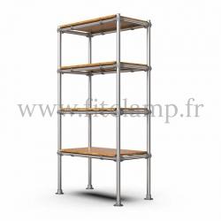 Etagère droite Simple en structure tubulaire en acier galvanisé. 4 niveaux avec tablettes. FitClamp