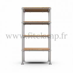 Etagère droite Simple en structure tubulaire en acier galvanisé. 4 niveaux sans vêtements. Face avant. FitClamp