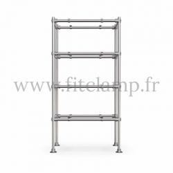 Etagère droite Simple en structure tubulaire en acier galvanisé. 4 niveaux sans tablette bois. Face avant. FitClamp