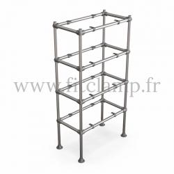 Etagère droite Simple en structure tubulaire en acier galvanisé. En situation sans table bois. FitClamp