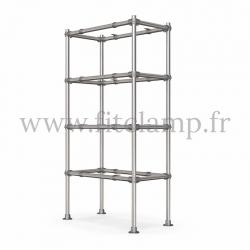 Etagère droite Simple en structure tubulaire en acier galvanisé. 4 niveaux sans tablettes. FitClamp