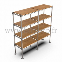 Tubular double upright shelving unit. Tubular structure. Perfect for shop layouts. FitClamp