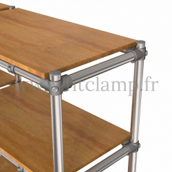 Tubular double upright shelving unit. Tubular structure. Quick and easy assembly with an Allen key. FitClamp