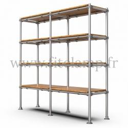 Tubular double upright shelving unit. Tubular structure. Easy to install