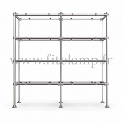 Tubular double upright shelving unit. Tubular structure. Quick and easy assembly with an Allen key