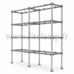 Tubular double upright shelving unit. Tubular structure