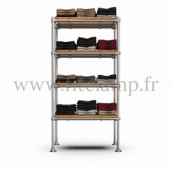 Tubular single upright shelving unit. Tubular structure. Quick and easy assembly with an Allen key.