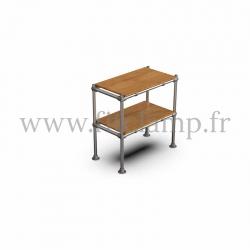 Etagère droite Simple en structure tubulaire en acier galvanisé. 2 niveaux tablette bois. FitClamp