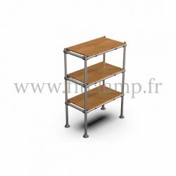 Etagère droite Simple en structure tubulaire en acier galvanisé. 3 niveaux tablette bois. FitClamp