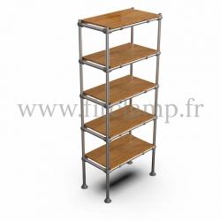 Etagère droite Simple en structure tubulaire en acier galvanisé. 5 niveaux tablette bois. FitClamp