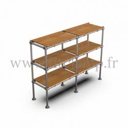 C42 Tubular double upright shelving unit: Furniture in tubular structure. 3 levels