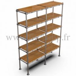 C42 Tubular double upright shelving unit: Furniture in tubular structure. 5 levels