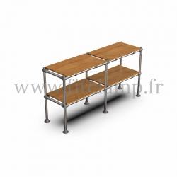 Tubular double upright shelving unit. Tubular structure. 2 levels