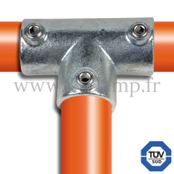 Tube clamp fitting 104 for tubular structures: Long tee, compatible for use with 3 tubes. FitClamp