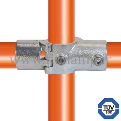 Tube clamp fitting 119A for tubular structures: Two socket cross (a), compatible for use with 3 tubes. FitClamp.