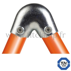 Tube clamp fitting 123 for tubular structures: Variable elbow clamp 40- 70°, compatible for use with 2 tubes. FitClamp