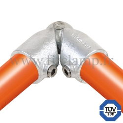 Tube clamp fitting 125H for tubular structures: Variable elbow clamp, compatible for use with 2 tubes. FitClamp