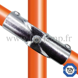 Tube clamp fitting 126 for tubular structures: Angle cross, compatible for use with 3 tubes. FitClamp