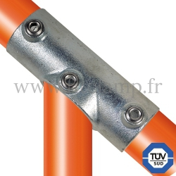 Tube clamp fitting 127 for tubular structures: Adjustable long tee, compatible for use with 3 tubes. FitClamp