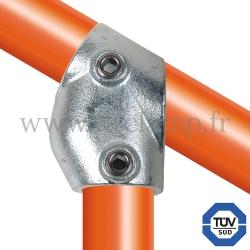 Raccord tubulaire 129 pour un assemblage et structure tubulaire. Avec double galvanisation