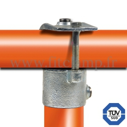 Tube clamp fitting 135 for tubular structures: Short clamp on tee, suitable for 2 tubes. FitClamp