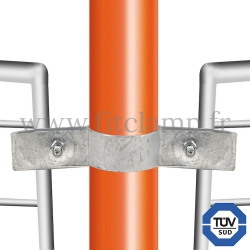 Tube clamp fitting 171: Double-sided mesh panel clip for tubular structures. FitClamp