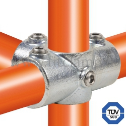 Tube clamp fitting 176 with double galvanized protection : Side outlet tee for tubular structures. FitClamp